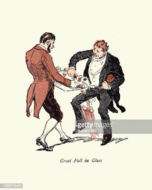 victorian cartoon, clumsy man knocking over tray of drinks - careless stock illustrations, clip art, cartoons, & icons