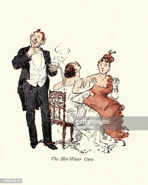 victorian cartoon, clumsy man spilling his drink down woman's back - careless stock illustrations, clip art, cartoons, & icons