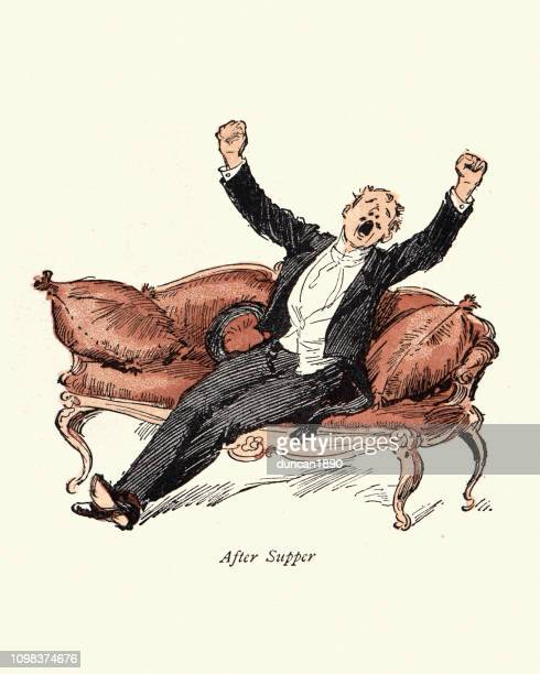 stockillustraties, clipart, cartoons en iconen met victoriaanse tekenfilm, mijnheer blunderbore, man geeuwen na avondmaal - yawning