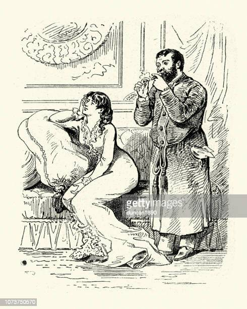 Victorian Cartoon of a woman and her husband, smoking