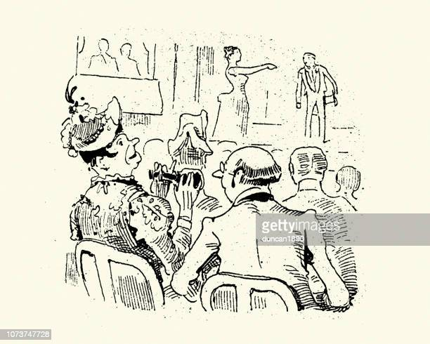 victorian cartoon of couple watching a play at the theatre - theater industry stock illustrations, clip art, cartoons, & icons