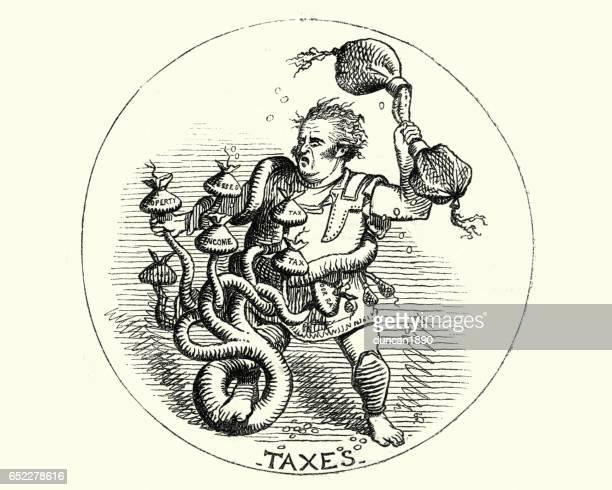 ilustraciones, imágenes clip art, dibujos animados e iconos de stock de victoriana dibujos animados del hombre que lucha contra una hidra de cabezas impuesto muchos - impuestosobrelarenta
