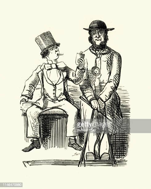 ilustraciones, imágenes clip art, dibujos animados e iconos de stock de caricatura victoriana del hombre que ofrece un cigarro a otro - taxista