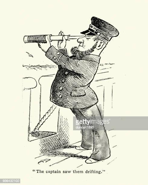 stockillustraties, clipart, cartoons en iconen met victoriaanse cartoon van schepen kapitein kijken door een telescoop - karikatuur