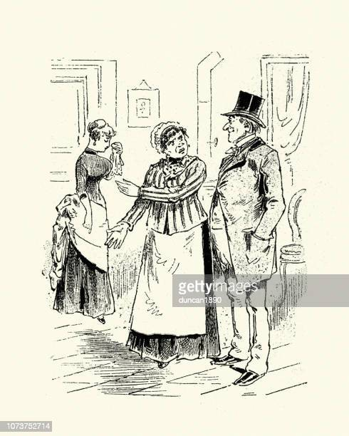 victorian cartoon of the indignation of a mother, 1880s - family fighting cartoon stock illustrations