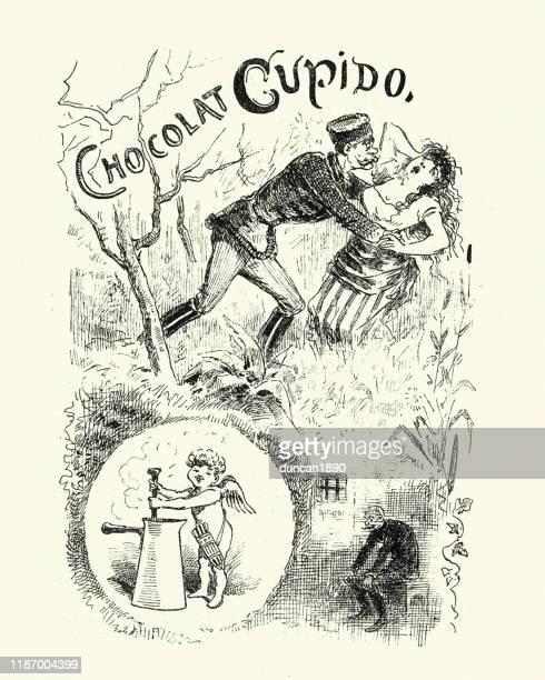 illustrations, cliparts, dessins animés et icônes de dessin animé victorien de l'amour du chocolat, 19ème siècle allemand - cupidon humour