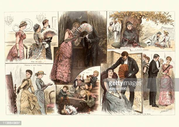 victorian cartoon, the society war game, 1884, 19th century - 19th century style stock illustrations