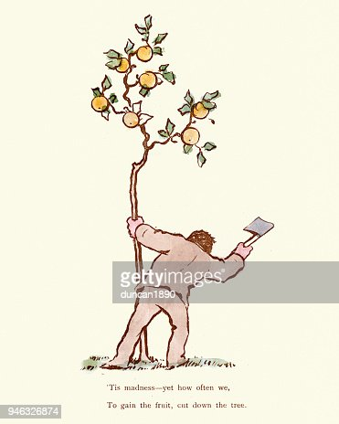 Victorian Cartoon To Gain The Fruit Cut Down The Tree High Res Vector Graphic Getty Images ✓ free for commercial use ✓ high quality images. victorian cartoon to gain the fruit cut down the tree high res vector graphic getty images