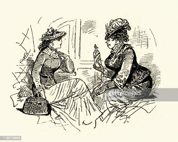 victorian cartoon, woman offering another a bottle of drink - potion stock illustrations