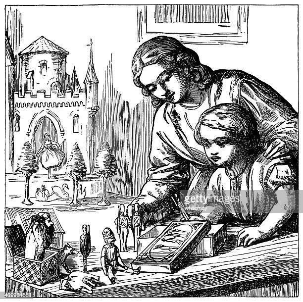 illustrations, cliparts, dessins animés et icônes de victorian enfant et mère jouant avec des jouets - diable à ressort