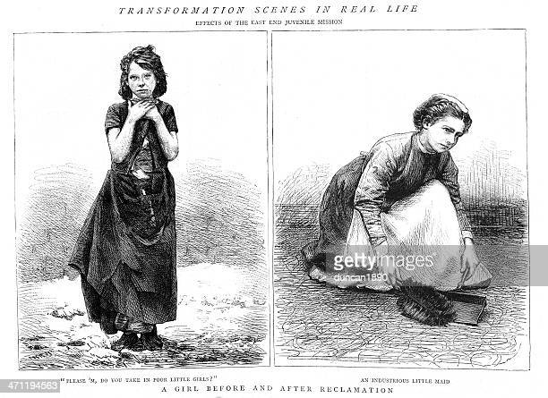 victorian child poverty - orphan stock illustrations