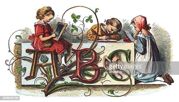 victorian children doing their lessons - 19th century stock illustrations, clip art, cartoons, & icons
