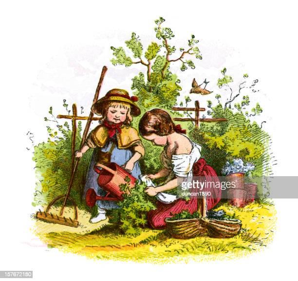 Victorian Children Gardening