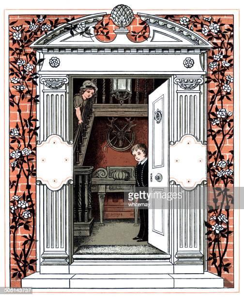 victorian children looking through a door - pediment stock illustrations, clip art, cartoons, & icons
