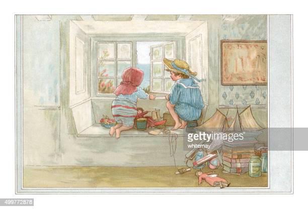 victorian children looking through a playroom window - bedroom stock illustrations, clip art, cartoons, & icons
