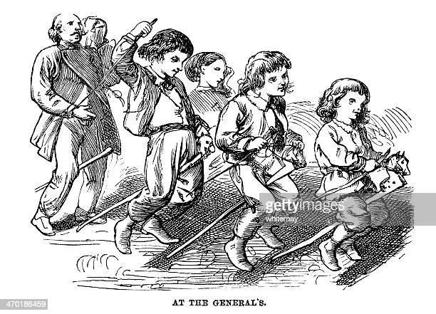Victorian crianças brincando no cavalo Equitação