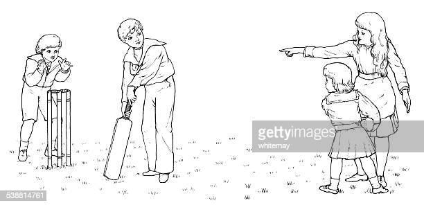 Victorian children playing cricket (engraving)