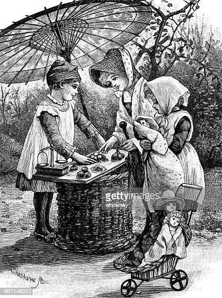 ilustraciones, imágenes clip art, dibujos animados e iconos de stock de victorian children playing shops - puesto de mercado