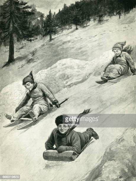 Victorian children racing down a steep hill on sledges