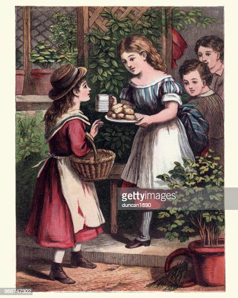 victorian children sharing scones and milk, 19th century - afternoon tea stock illustrations, clip art, cartoons, & icons