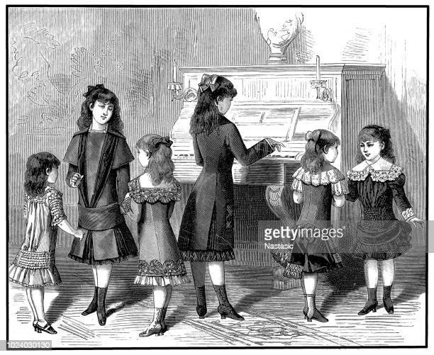 Victorian children singing and dancing along with piano playing