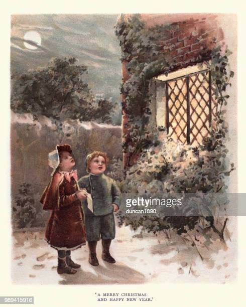 victorian children singing marry christmas, 19th century - archival stock illustrations, clip art, cartoons, & icons