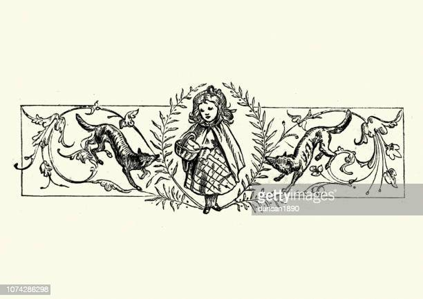 victorian childrens illustration, little red riding hood and wolves - little red riding hood stock illustrations, clip art, cartoons, & icons