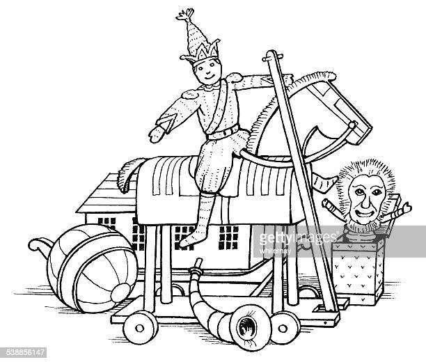 illustrations, cliparts, dessins animés et icônes de victorian les jouets pour enfants (gravure) - diable à ressort