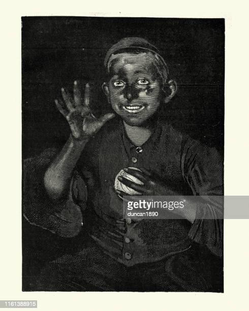 viktorianischen schornsteinfeger junge mit ruß bedeckt, 19. jahrhundert - schornsteinfeger stock-grafiken, -clipart, -cartoons und -symbole