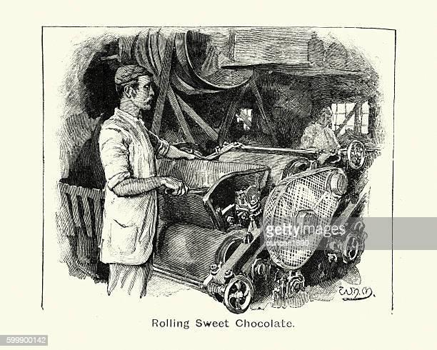 Victorian Chocolatier rolling sweet chocolate. 1894