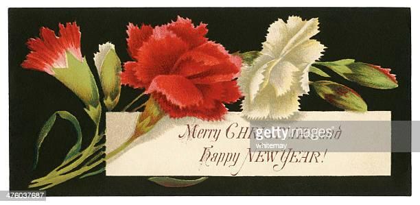 ilustrações de stock, clip art, desenhos animados e ícones de victorian natal e ano novo cartão de saudações - cravo cravo da china