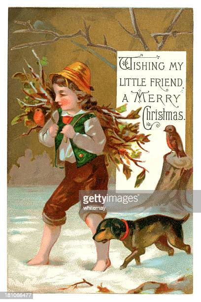 victorian christmas card, 1877 - nostalgia stock illustrations