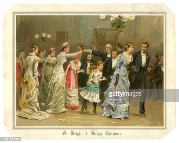 ilustrações, clipart, desenhos animados e ícones de cartão de natal do victorian que mostra povos que dançam, 1882 - sunday best