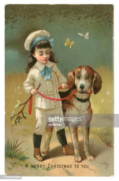 illustrations, cliparts, dessins animés et icônes de carte victorienne de noel avec un garçon et son chien de 1882 - image du xixème siècle