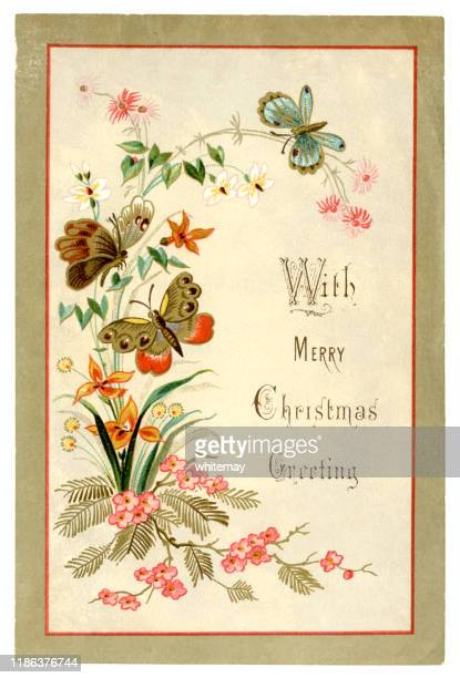 victorian christmas card with butterflies and flowers, 1879 - graphic print stock illustrations