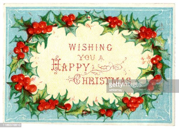 victorian christmas card with holly wreath, 1875 - victorian style stock illustrations