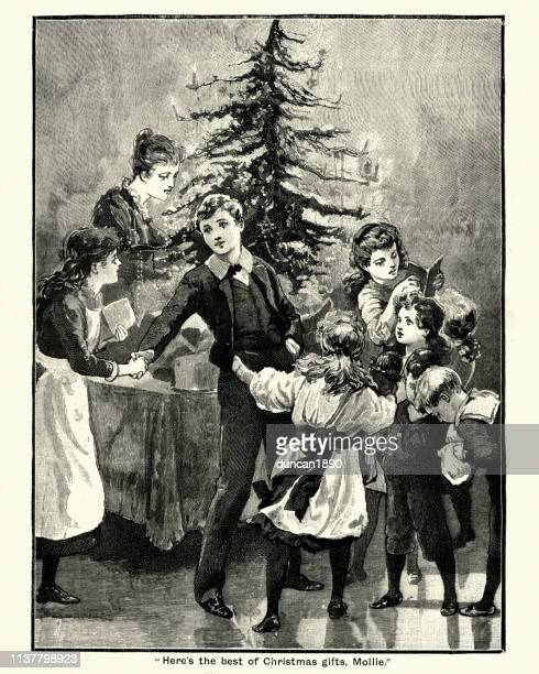 victorian christmas, children giving gifts around the tree, 19th century - christmas past and christmas present stock illustrations