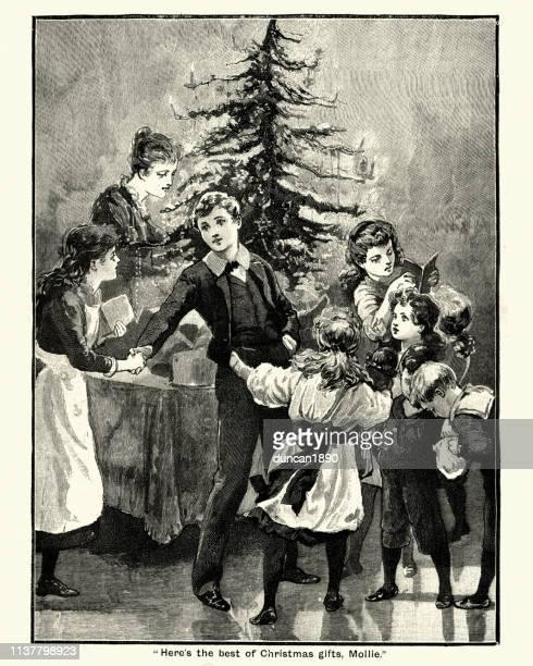 illustrations, cliparts, dessins animés et icônes de noël victorien, les enfants donnant des cadeaux autour de l'arbre, 19ème siècle - image du xixème siècle