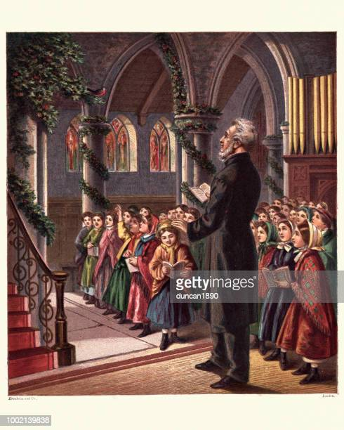 Victorian Christmas church service, Vicar children singing hymns