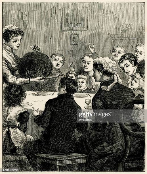 Victorian Christmas dinner with an enormous plum pudding