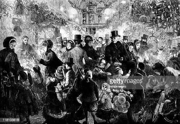 victorian christmas market 1870 - the illustrated london news - victorian stock illustrations