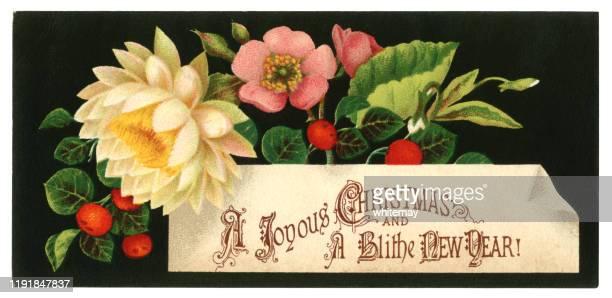 ビクトリア朝のクリスマス&新年カード(花とベリー付き)、1876年 - 1870~1879年点のイラスト素材/クリップアート素材/マンガ素材/アイコン素材