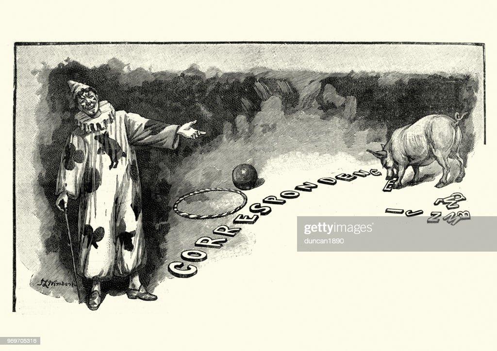 Viktorianische Zirkusclown, 19. Jahrhundert : Stock-Illustration