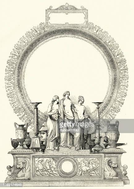 victorian classical art and artefacts display 19th century - display cabinet stock illustrations, clip art, cartoons, & icons