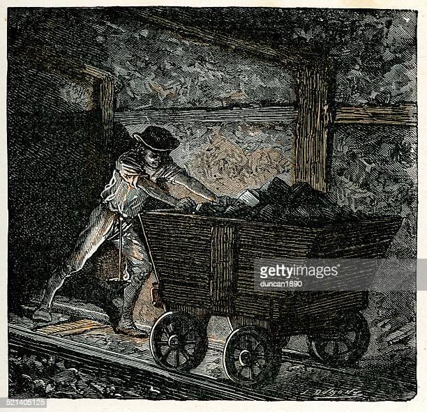 illustrazioni stock, clip art, cartoni animati e icone di tendenza di vittoriano minecart spingendo un minatore in miniera di carbone - industrial revolution