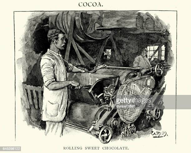victorian confectioner rolling sweet chocolate - baker occupation stock illustrations