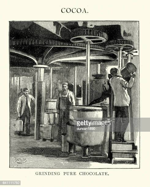 victorian confectioners grinding pure chocolate - chocolate factory stock illustrations