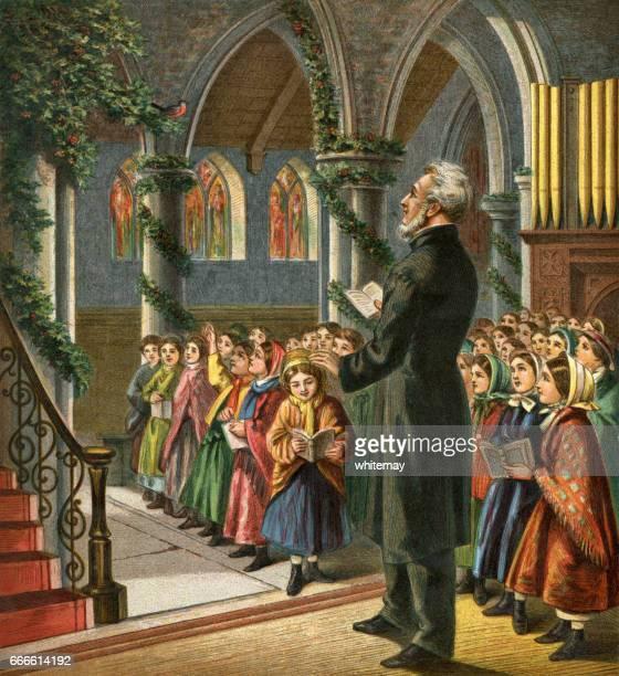 Viktorianska församling sjunger julsånger i kyrkan