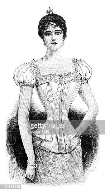 illustrations, cliparts, dessins animés et icônes de corset victorien - edwardian fashion