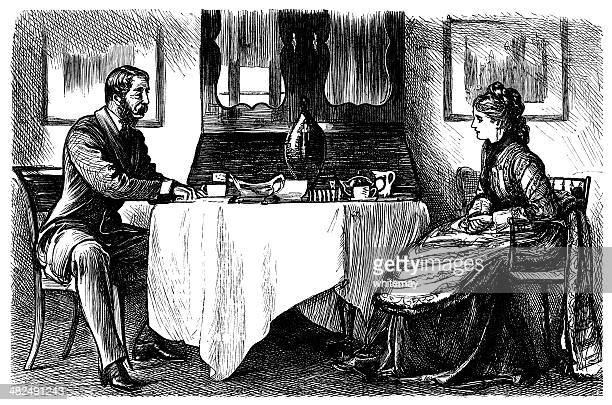 Victorian couple at meal time